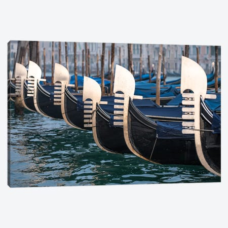 Gondolas With Ferro Di Prua Ornament Canvas Print #JNB37} by Jan Becke Art Print