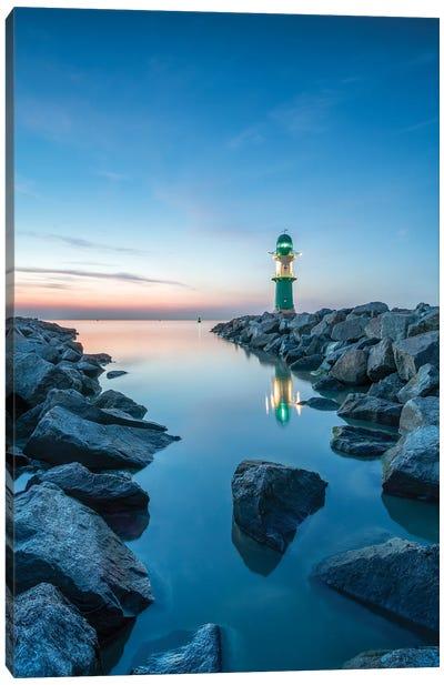 Lighthouse Westmole At Dusk Near Warnemünde, Mecklenburg-Vorpommern, Germany Canvas Art Print