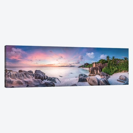 Anse Source D'Argent Panorama Canvas Print #JNB3} by Jan Becke Canvas Art Print