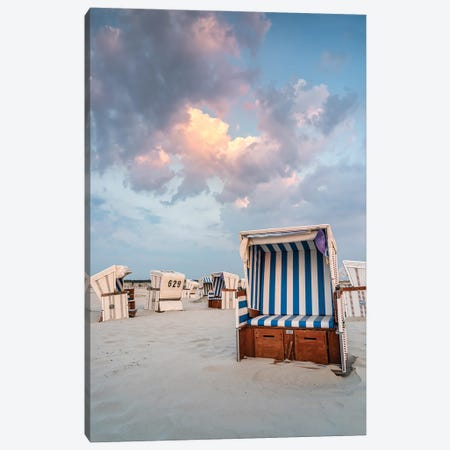 Beach Chair At The North Sea Coast Near Sankt Peter-Ording, Schleswig-Holstein, Germany Canvas Print #JNB405} by Jan Becke Canvas Art