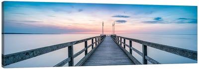 Wooden Pier Panorama At Sunset Canvas Art Print