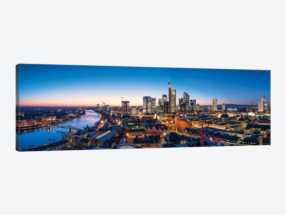 Frankfurt am Main skyline panorama at dusk by Jan Becke 1-piece Canvas Wall Art