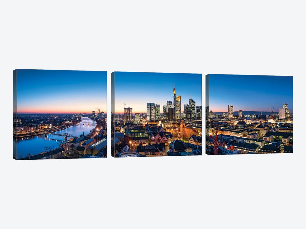 Frankfurt am Main skyline panorama at dusk by Jan Becke 3-piece Canvas Art