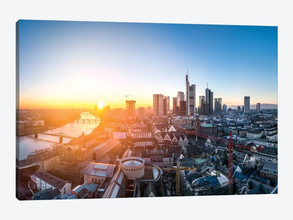 Frankfurt am Main skyline at sunset by Jan Becke 1-piece Canvas Print