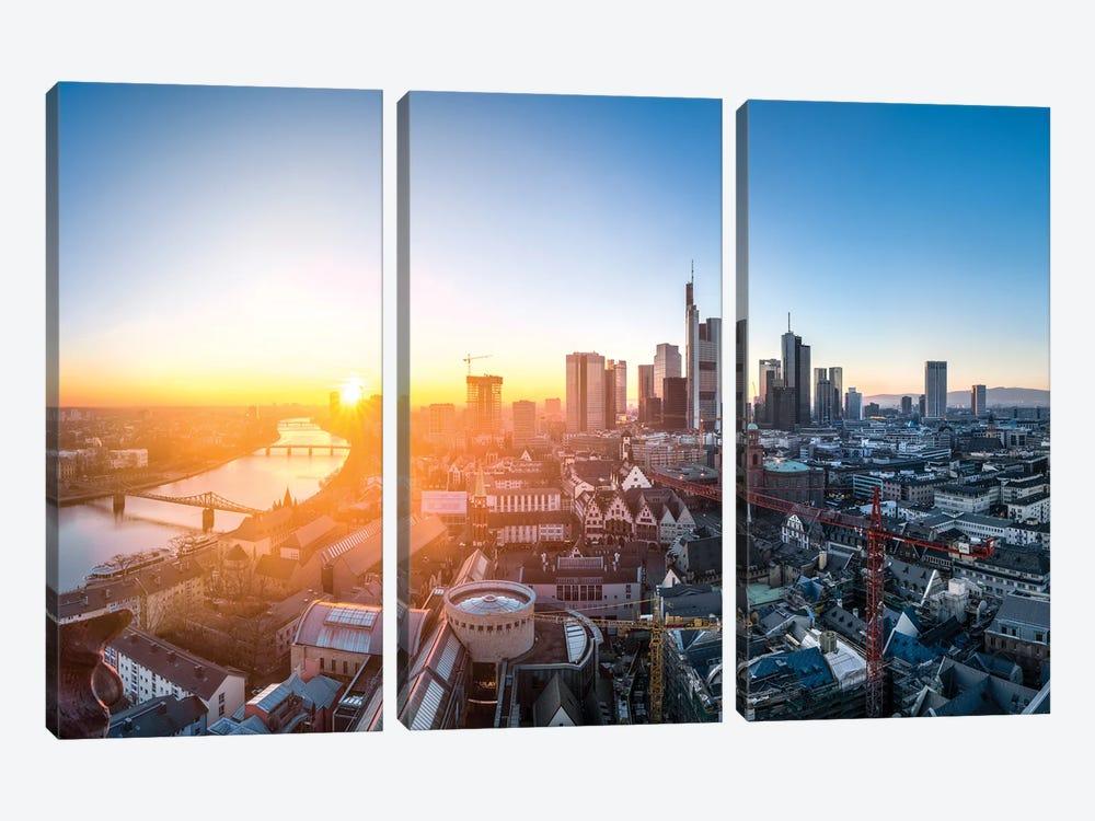 Frankfurt am Main skyline at sunset by Jan Becke 3-piece Canvas Art Print