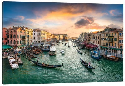 Grand Canal At Sunset Canvas Art Print