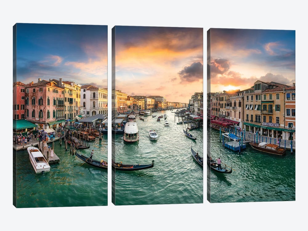 Grand Canal At Sunset by Jan Becke 3-piece Canvas Print