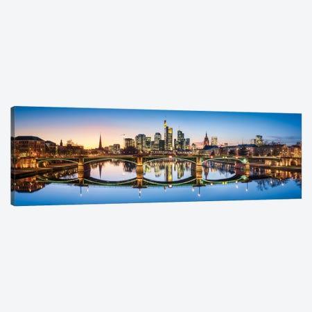 Ignatz-Bubis-Brücke (Ignatz Bubis Bridge) and skyline of Frankfurt, Hesse, Germany Canvas Print #JNB433} by Jan Becke Canvas Art