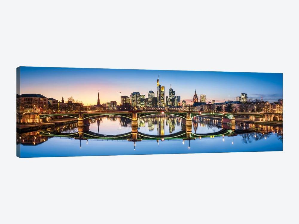Ignatz-Bubis-Brücke (Ignatz Bubis Bridge) and skyline of Frankfurt, Hesse, Germany by Jan Becke 1-piece Canvas Artwork