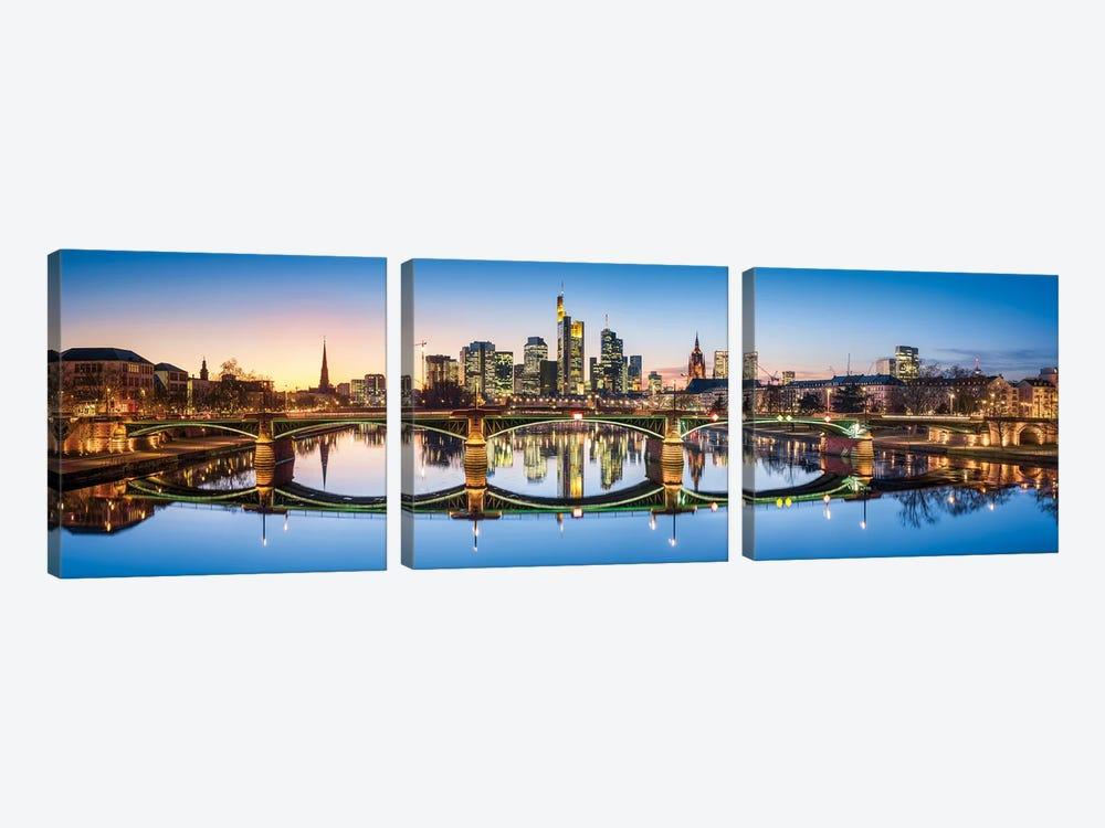 Ignatz-Bubis-Brücke (Ignatz Bubis Bridge) and skyline of Frankfurt, Hesse, Germany by Jan Becke 3-piece Canvas Wall Art