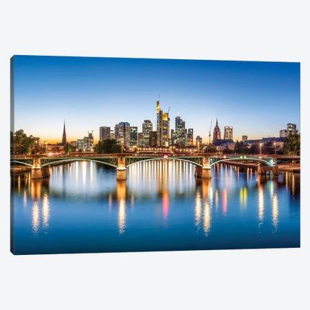 Frankfurt am Main skyline with Ignatz-Bubis-Brücke, Hesse, Germany Canvas Print #JNB435} by Jan Becke Art Print