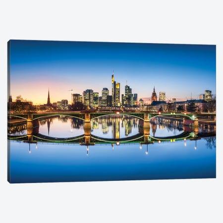 Frankfurt skyline and Ignatz-Bubis-Brücke (Ignatz Bubis Bridge) at dusk, Hesse, Germany Canvas Print #JNB436} by Jan Becke Canvas Print
