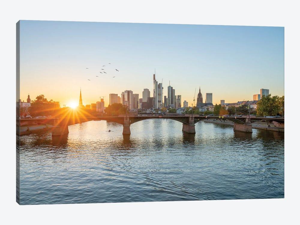 Frankfurt am Main skyline at sunset, Hesse, Germany by Jan Becke 1-piece Canvas Artwork