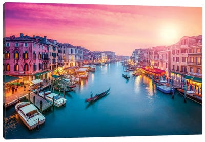 Grand Canal At Sunset, Venice, Italy Canvas Art Print