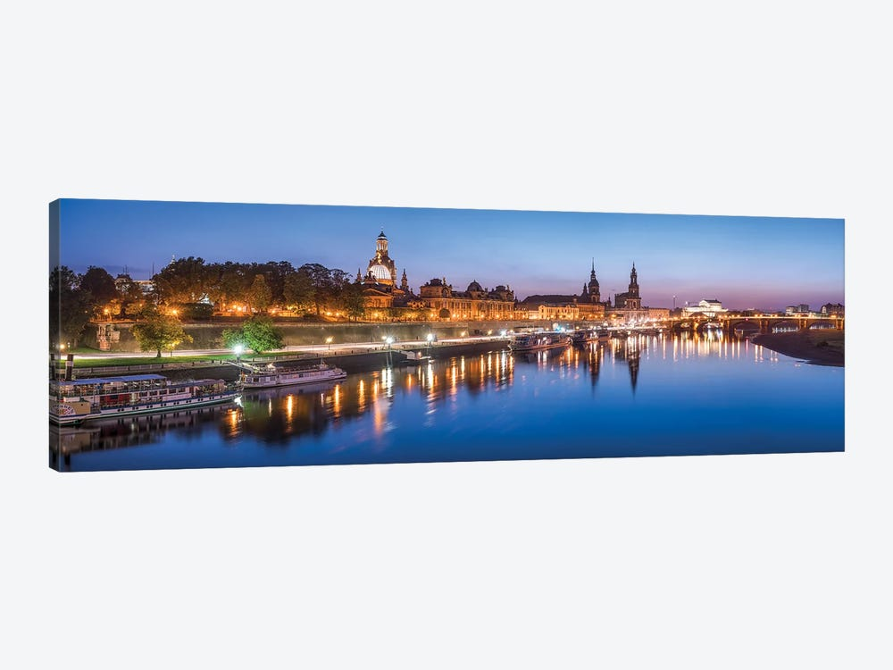 Dresden skyline panorama at night 1-piece Canvas Art