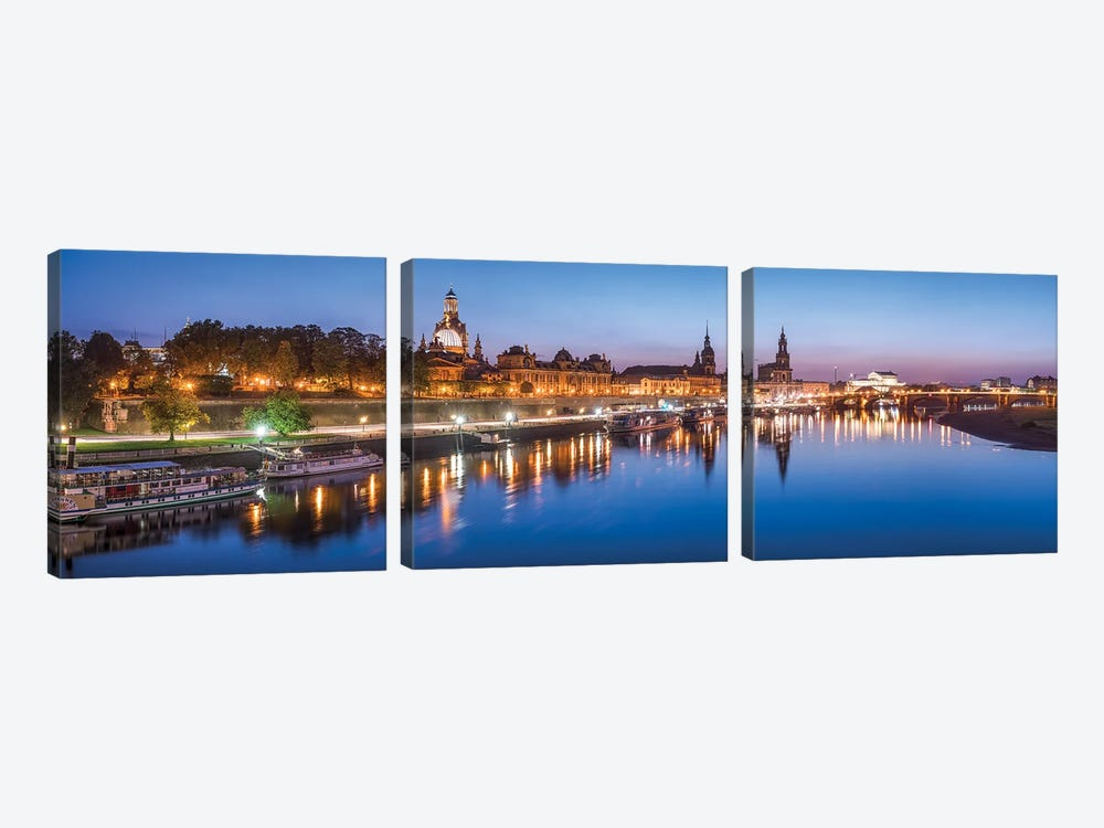 Dresden skyline panorama at night 3-piece Canvas Art
