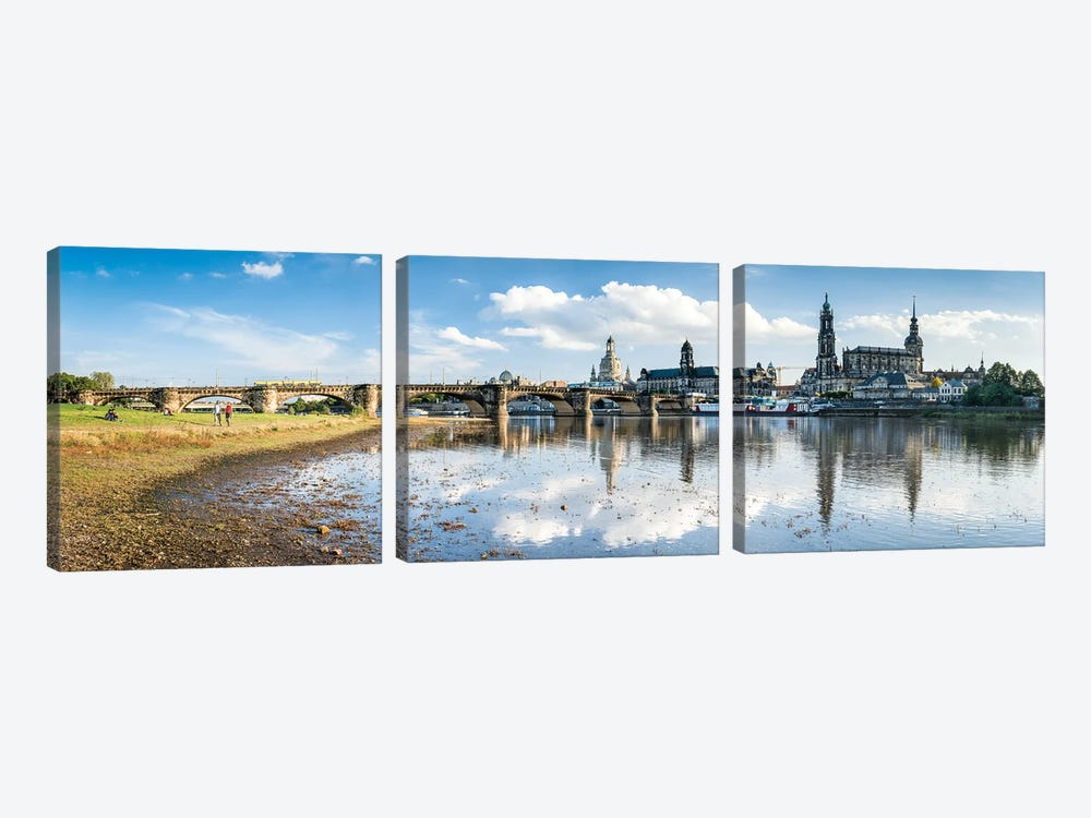 Dresden skyline panorama by Jan Becke 3-piece Canvas Artwork