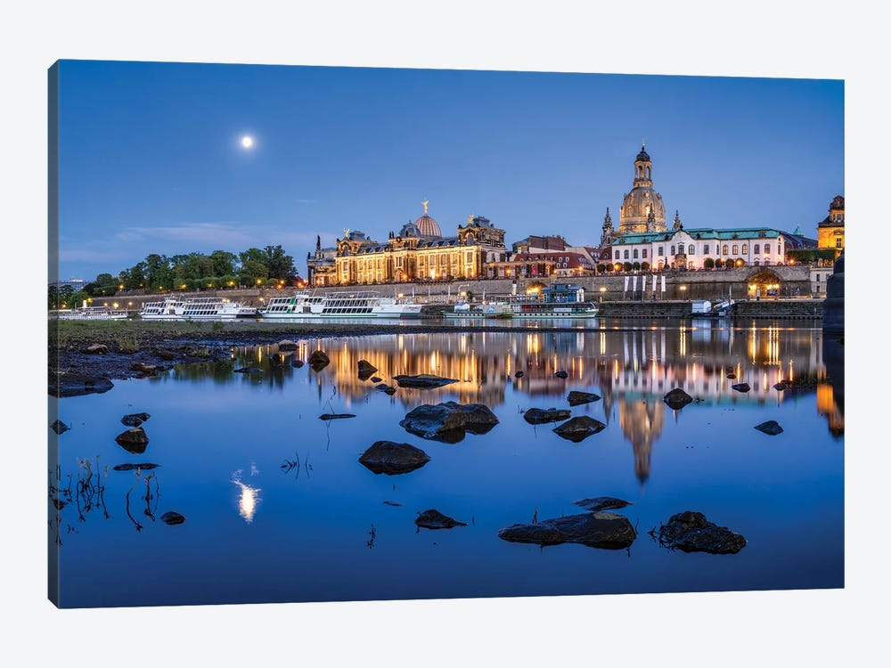 Dresden skyline with Frauenkirche at night, Saxony, Germany by Jan Becke 1-piece Canvas Art