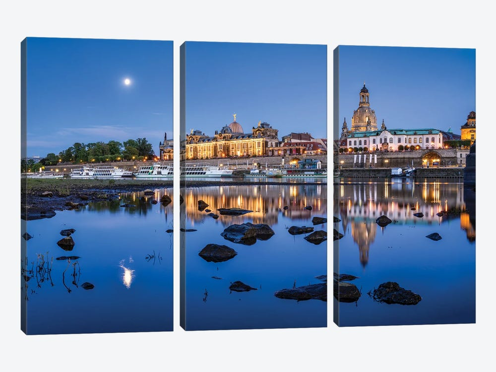 Dresden skyline with Frauenkirche at night, Saxony, Germany by Jan Becke 3-piece Canvas Wall Art