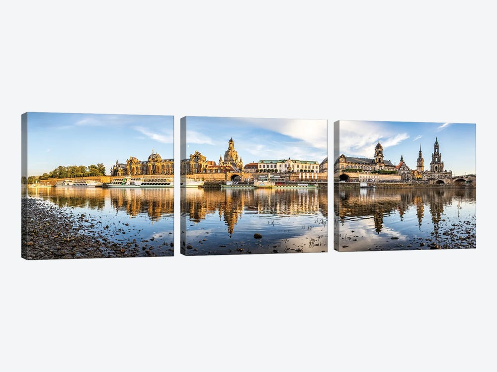 Dresden skyline panorama along the Elbe River, Saxony, Germany by Jan Becke 3-piece Canvas Art Print