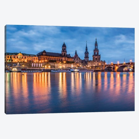 Dresden skyline at night with view of the Dresden Cathedral Canvas Print #JNB460} by Jan Becke Canvas Print