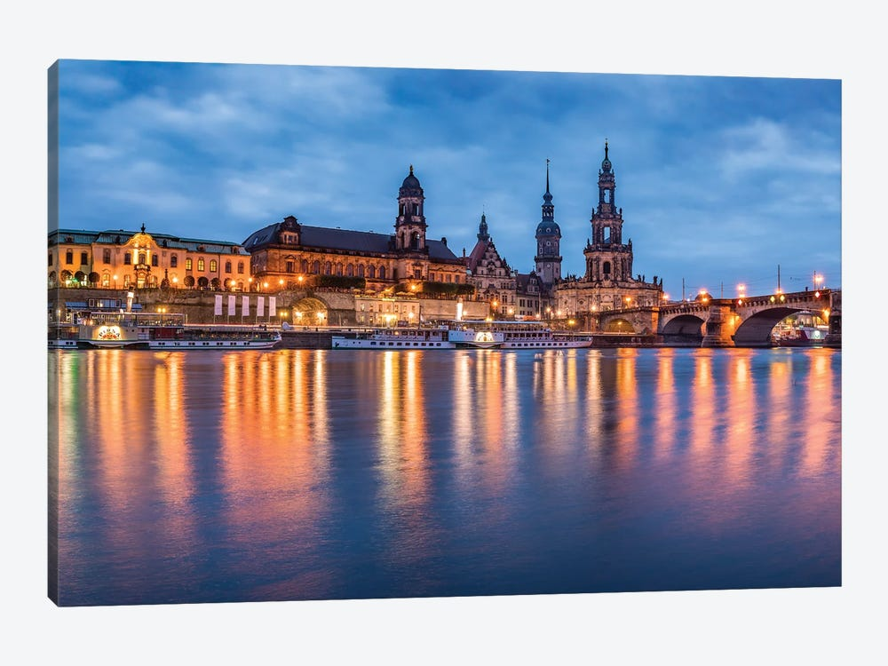 Dresden skyline at night with view of the Dresden Cathedral by Jan Becke 1-piece Canvas Art