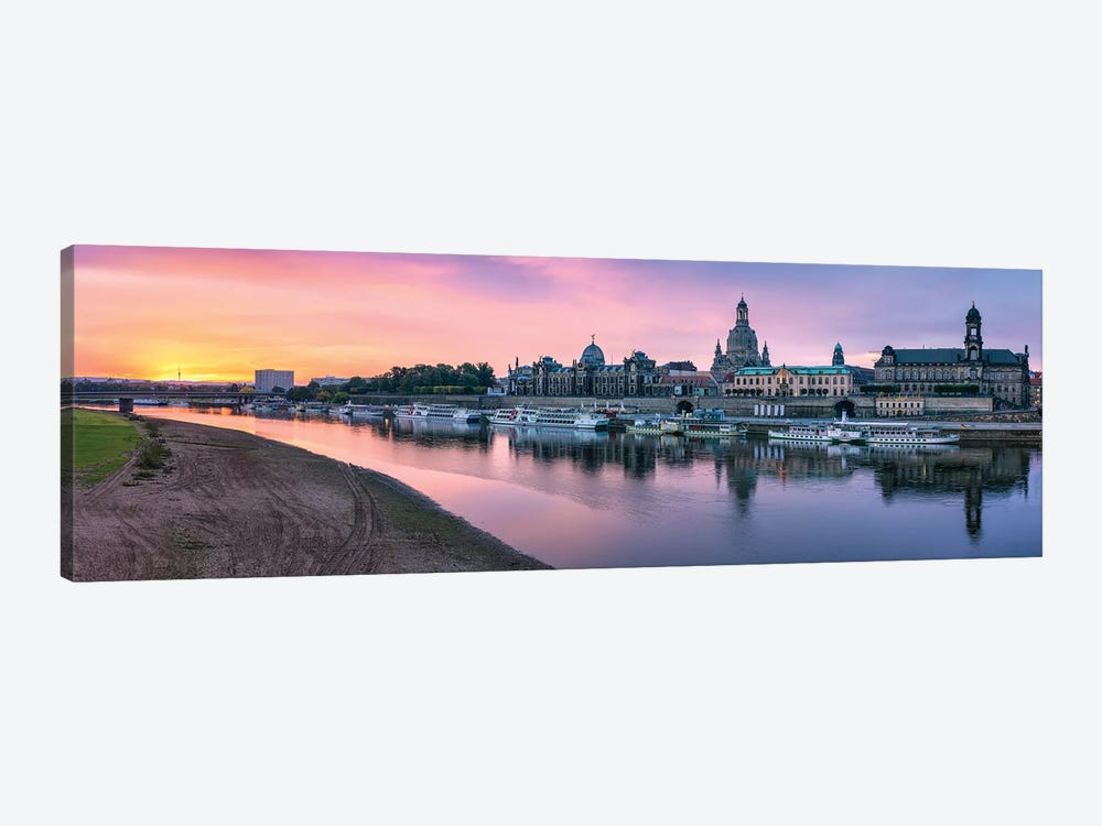 Dresden skyline panorama at sunrise, Saxony, Germany by Jan Becke 1-piece Canvas Print