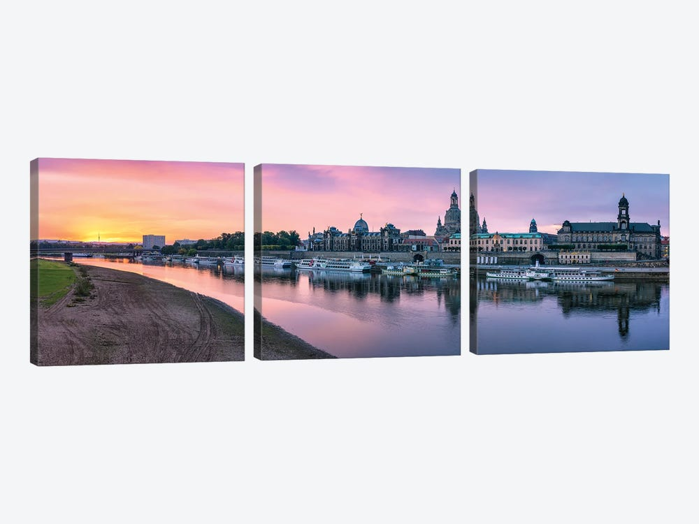 Dresden skyline panorama at sunrise, Saxony, Germany by Jan Becke 3-piece Canvas Print