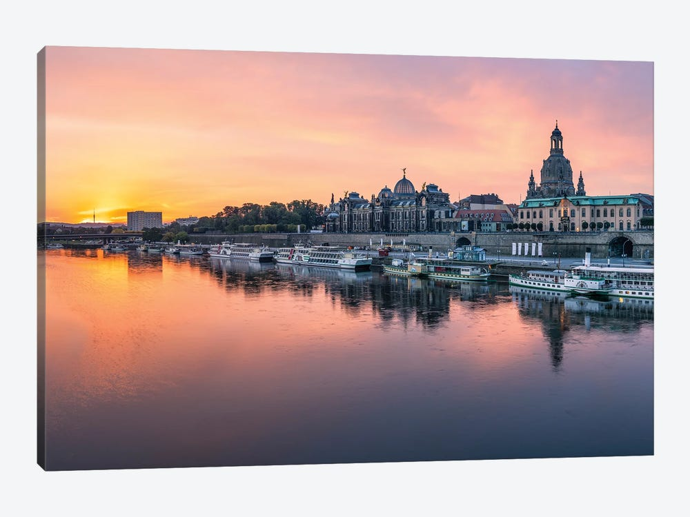 Dresden skyline at sunrise, Saxony, Germany by Jan Becke 1-piece Canvas Print