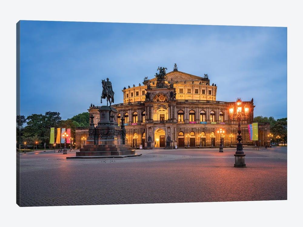 Semperoper opera house in Dresden by Jan Becke 1-piece Canvas Wall Art