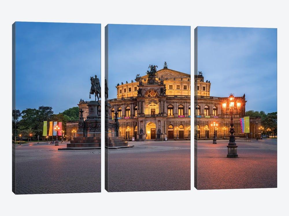 Semperoper opera house in Dresden by Jan Becke 3-piece Canvas Art