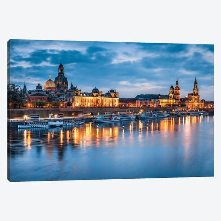 Dresden skyline at night Canvas Print #JNB469} by Jan Becke Art Print