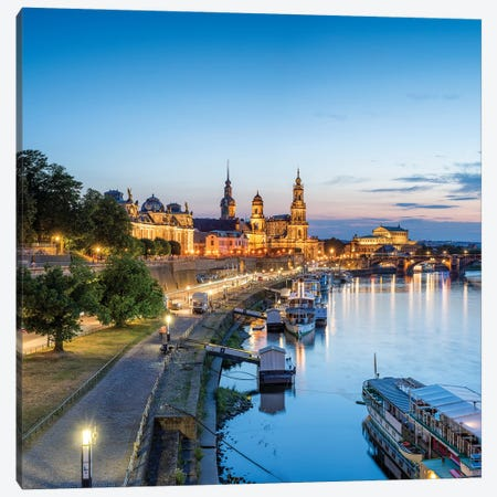 Dresden skyline along the Elbe River, Saxony, Germany Canvas Print #JNB470} by Jan Becke Canvas Wall Art