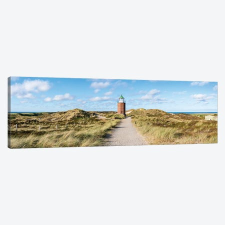 Panoramic view of the Lighthouse Quermarkenfeuer Rotes Kliff, Sylt, Schleswig-Holstein, Germany Canvas Print #JNB478} by Jan Becke Canvas Artwork