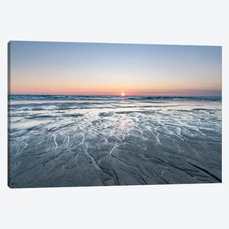 Sunset at the North Sea coast, Sylt, Schleswig-Holstein, Germany Canvas Print #JNB480} by Jan Becke Art Print