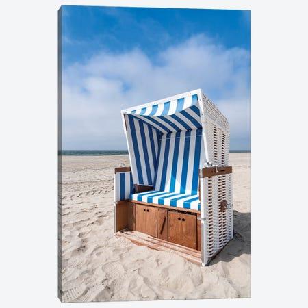Roofed wicker beach chair at the North Sea coast Canvas Print #JNB482} by Jan Becke Canvas Art Print