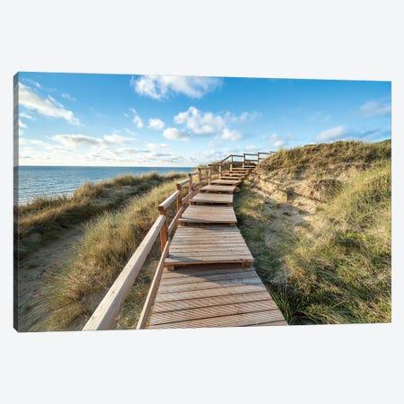 Boardwalk along the dune beach, Sylt, Germany Canvas Print #JNB486} by Jan Becke Canvas Wall Art