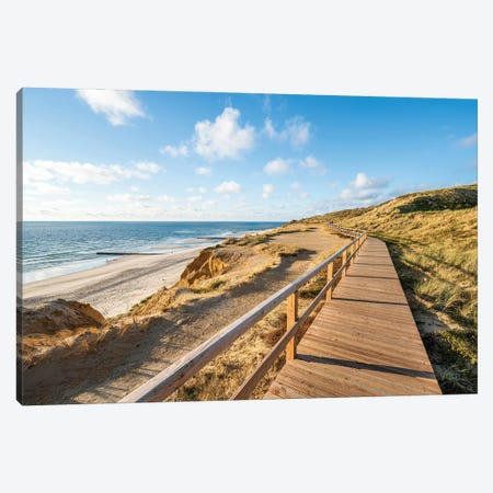 Wooden boardwalk along the North Sea coast, Sylt, Schleswig-Holstein, Germany Canvas Print #JNB488} by Jan Becke Canvas Art Print