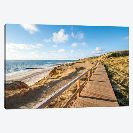 Wooden boardwalk along the North Sea coast, Sylt, Schleswig-Holstein, Germany Canvas Print #JNB488} by Jan Becke Canvas Art Print
