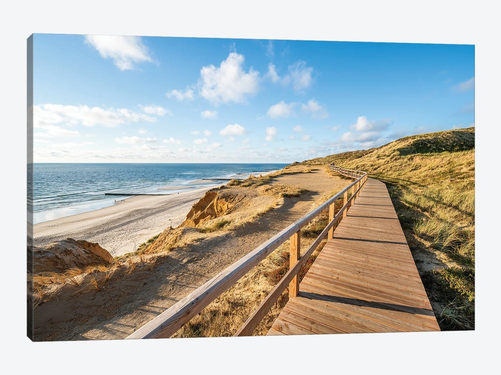 Wooden boardwalk along the North Sea coast, Sylt, Schleswig-Holstein, Germany by Jan Becke 1-piece Canvas Wall Art