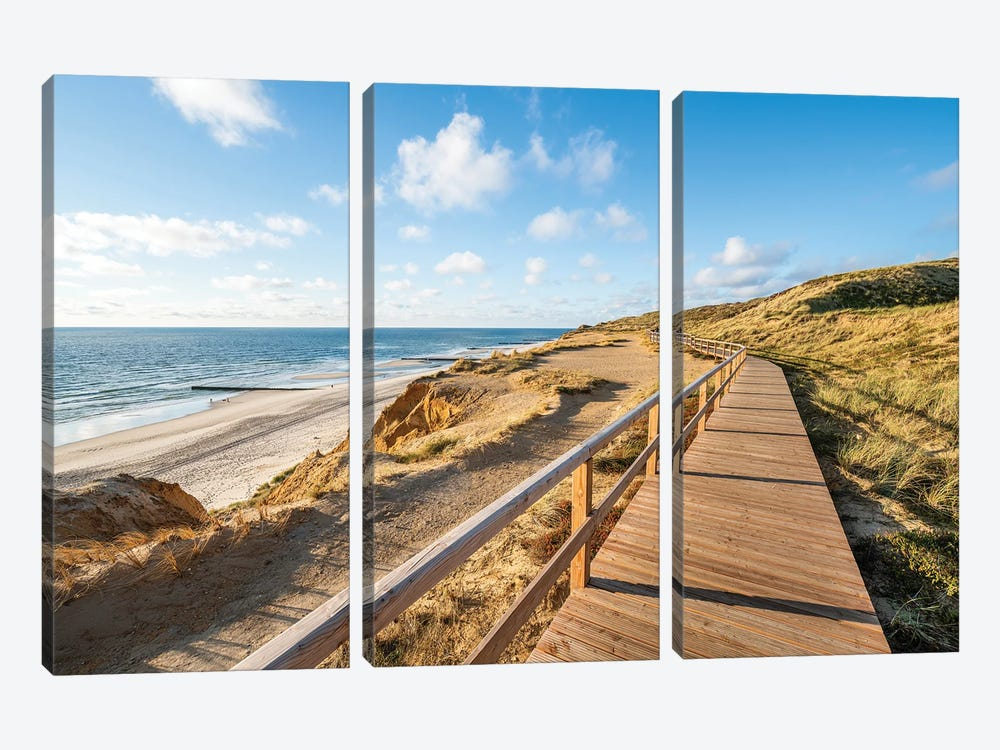 Wooden boardwalk along the North Sea coast, Sylt, Schleswig-Holstein, Germany by Jan Becke 3-piece Canvas Artwork