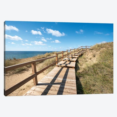Boardwalk along the Rotes Kliff (Red Cliff), Sylt, Schleswig-Holstein, Germany Canvas Print #JNB490} by Jan Becke Canvas Artwork