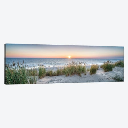 Dune beach panorama at sunset Canvas Print #JNB491} by Jan Becke Canvas Art