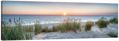 Dune beach panorama at sunset Canvas Art Print