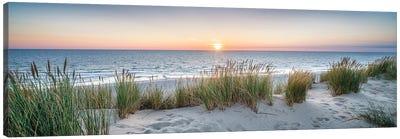 Dune beach panorama at sunset Canvas Art Print