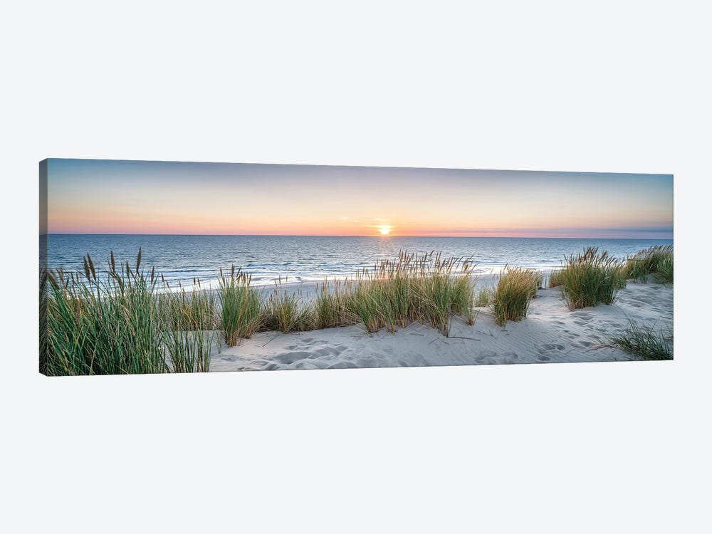 Dune beach panorama at sunset by Jan Becke 1-piece Canvas Art
