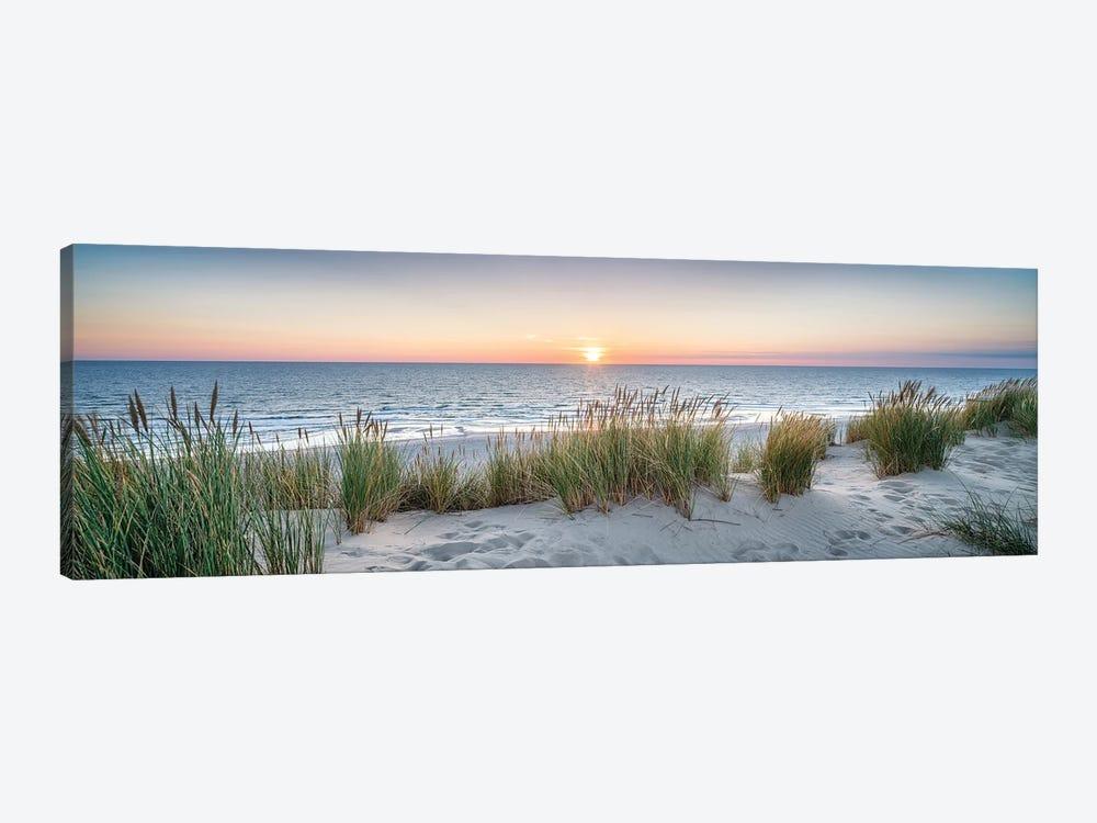 Dune beach panorama at sunset by Jan Becke 1-piece Canvas Art