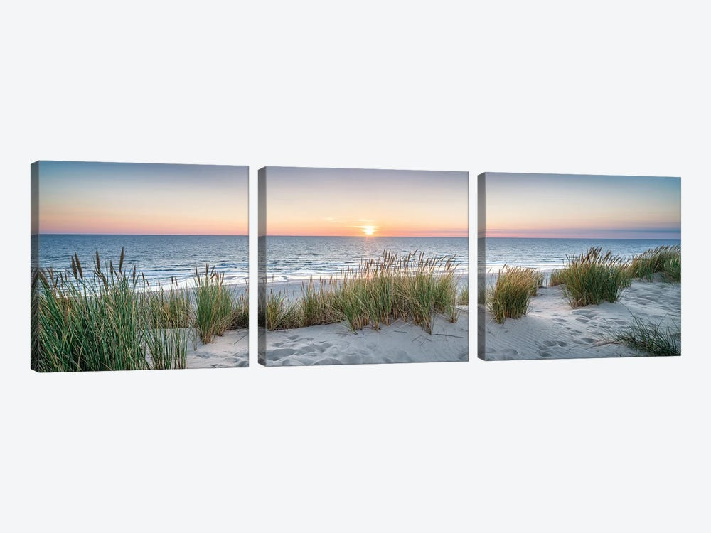Dune beach panorama at sunset by Jan Becke 3-piece Canvas Art