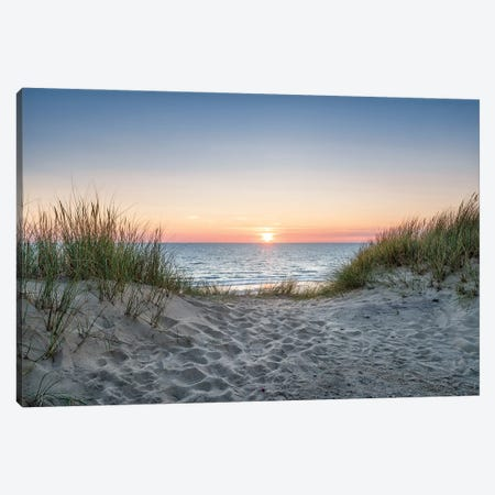 Dune beach at sunset Canvas Print #JNB492} by Jan Becke Canvas Art