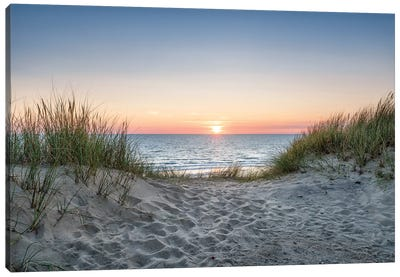 Dune beach at sunset Canvas Art Print